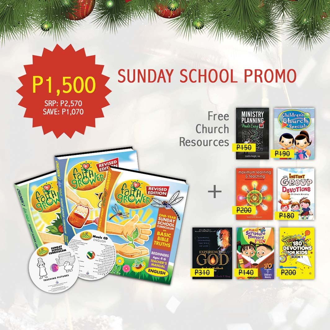 Purchase the Faith Grower Revised Edition curriculum and get 7 FREE church resources (plus a FREE audio book!) for only P1,500.