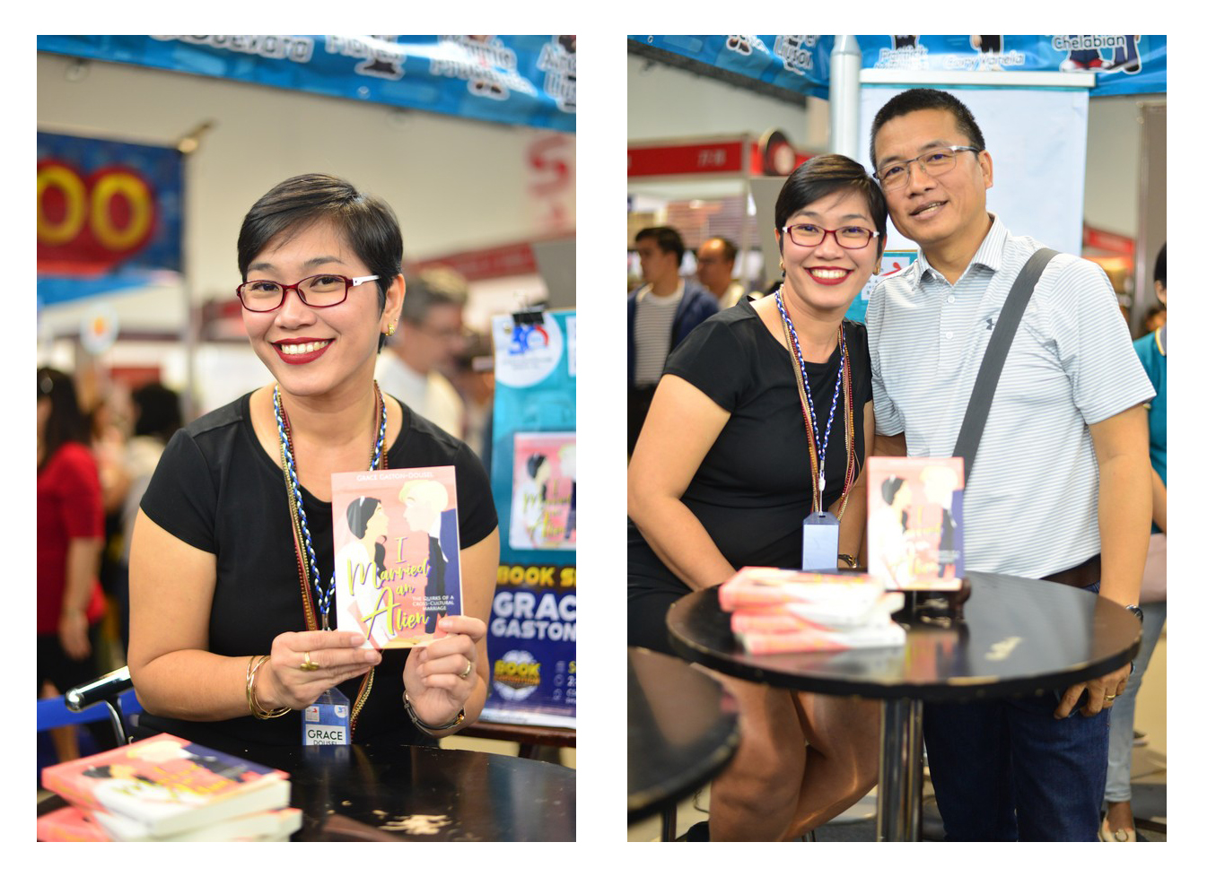"Caption: Grace Gaston-Dousel makes her comeback 14 years after writing her first book True Love Weds with her newest title, I Married an Alien: The Quirks of a Cross-Cultural Marriage.  Here she is posing with her ""alien"" Mang Dousel at her book signing at the 2019 MIBF."